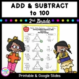 Add & Subtract to 100 - 2nd Grade 2.NBT.B.5 Google Slides Distance Learning Pack