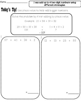 2.NBT.B.6 Alligned Independent Work: Adding Numbers Using Place Value