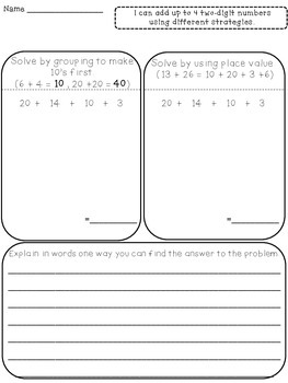 2.NBT.B.6 Alligned Independent Work: Adding by grouping 10's and Place Value