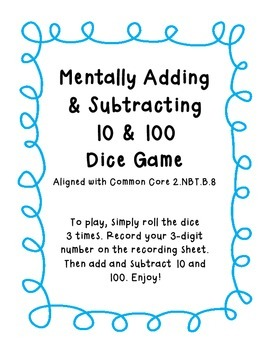 2.NBT.B.8 Mentally Adding & Subtracting 10 & 100