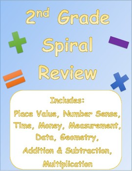 2nd Grade Spiral Math Review- Week 1