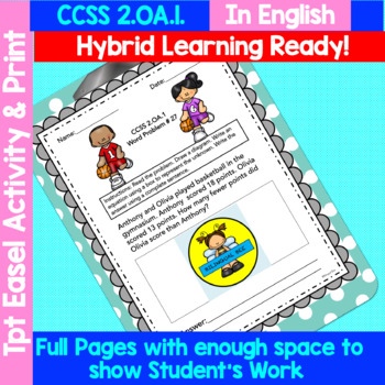 2ND GRADE MATH WORD PROBLEMS IN ENGLISH - YEAR BUNDLE