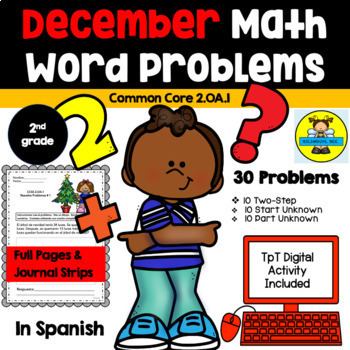 2ND GRADE MATH WORD PROBLEMS IN SPANISH - CCSS 2.0A.1 - DECEMBER