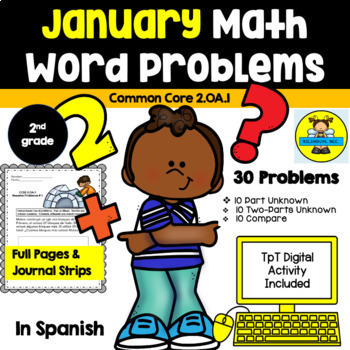 2ND GRADE MATH WORD PROBLEMS IN SPANISH - CCSS 2.0A.1 - JANUARY