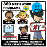 2ND GRADE MATH WORD PROBLEMS IN SPANISH YEAR BUNDLE (360 W