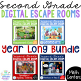 2ND GRADE Math Digital Escape Room Games YEAR LONG BUNDLE
