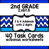2ND Grade COMMON CORE ccss 2.nbt.6 TASK CARDS w/worksheets