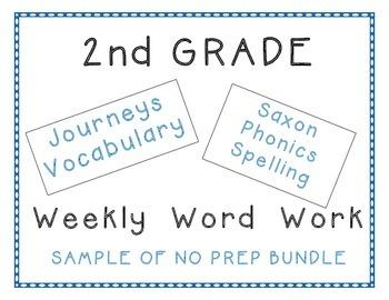 2nd Grade Journeys Vocabulary, Saxon Spelling SAMPLE of Ye