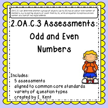 2.OA.C.3 Assessments - Odd and Even Numbers