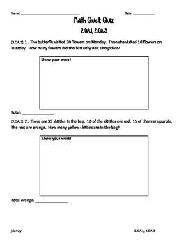 2.OA.1 & 2.OA.3 Math Quick Quiz - Freebie!