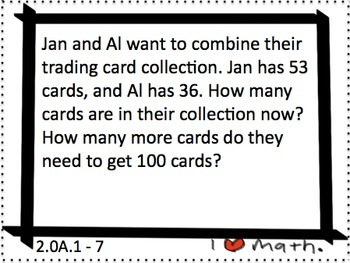 2.OA.1 Adding/Subtracting Task Cards: Story problems, multi-step, thinking