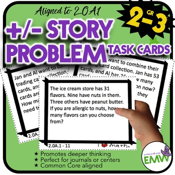 2.OA.1 Adding/Subtracting Task Cards: Story problems, mult