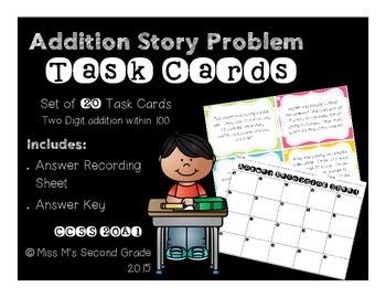 2OA1 Addition Story Problem Task Cards