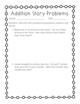 2OA1 Addition Story Problems
