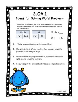 2.OA.1 Addition and Subtraction Word Problems - Start/Change/Result Unknown