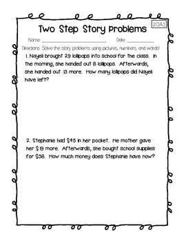 2OA1 Two Step Story Problems