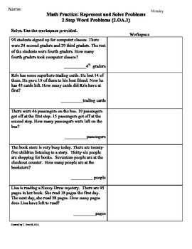 Word Problems -[2 Step]2nd Grade Common Core Math Worksheet ...