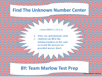 MAFS.2.OA.1.a Find the Unknown Number Task Cards