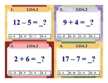 2.OA.2 2nd Grade Math Task Cards - 2 OA.2 Fluently Add & Subtract Within 20.