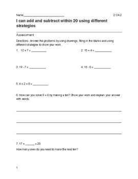 Add and Subtract within 20 Assessment