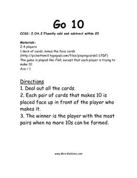 2.OA.2 Go Ten Math Station / Center Game