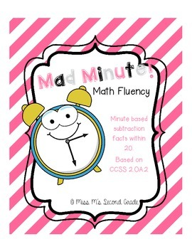 2OA2 Mad Minute Math Fluency - Subtraction
