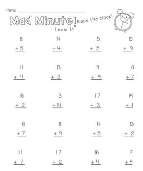 2OA2 Mad Minute Math Addition Fluency