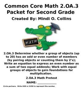 2.OA.3 and 2.OA.4 Second Grade Common Core Math Packet
