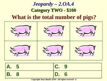 2.OA.4 2nd Grade Math Jeopardy Game - Operations and Algebraic Thinking
