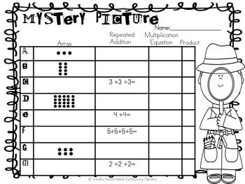 2.OA.4. Arrays and Repeated Addition Mystery Picture Activity