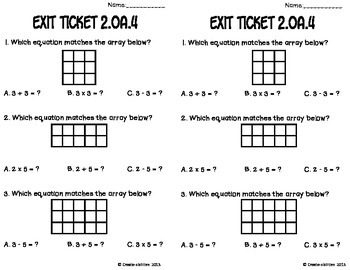 Addition Using Arrays Math Tasks and Exit Tickets