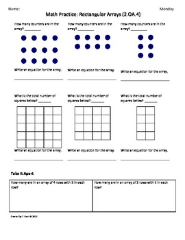 Worksheets 2nd Grade Common Core Math Worksheets 2 oa 4 rectangular array by tonya gent teachers pay 2nd grade common core math worksheets 4th 9 weeks