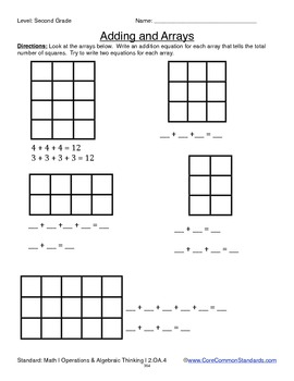 2.OA.4 Second Grade Common Core Worksheets, Activity, and Poster