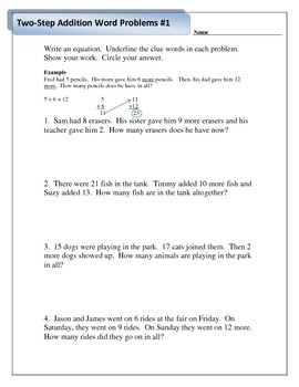 2.OA.A.1 - Addition and Subtraction Two Step Word Problems