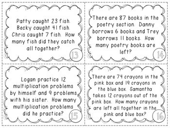 Addition/Subtraction within 100 Word Problems - 2.OA.A.1 Task Cards {set of 28}