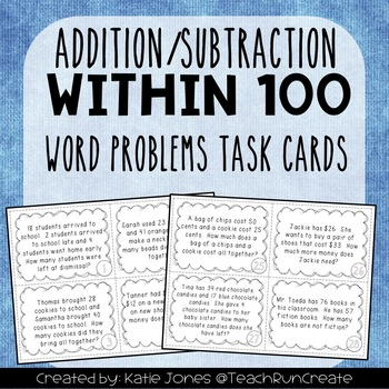 Addition/Subtraction within 100 Word Problems - 2.OA.A.1 T
