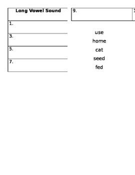 2.RF.3.a. Distinguishing Long and Short Vowels