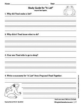 "2SL - ""A List"" From Frog and Toad Together Curriculum"