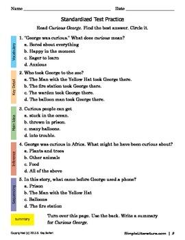 2SL - Curious George Curriculum - Novel Study