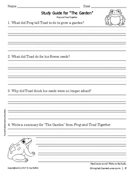 "2SL - ""The Garden"" from Frog and Toad Together Curriculum"
