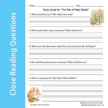 """2SL - """"The Tale of Peter Rabbit"""" Curriculum"""