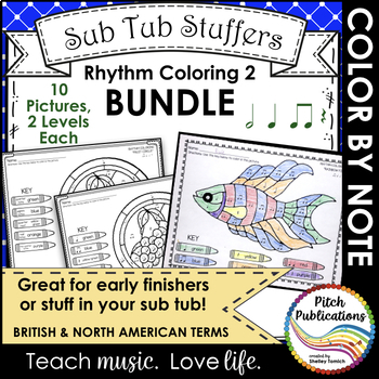 Rhythm Coloring 2 {BUNDLE} - Color by Note -Half Note, Qua