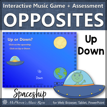 Music Opposite Up Down Interactive Music Game and Assessment {spaceship}