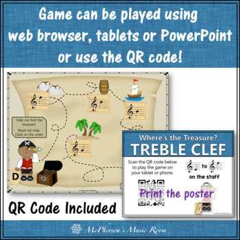 Treble Clef Note Name Game Interactive Music Game + Assessment {Treasure}