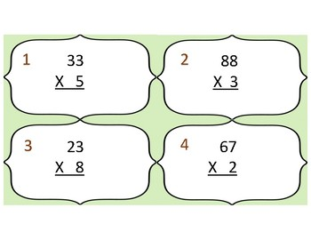 2X1 Digit Multiplication Task Cards