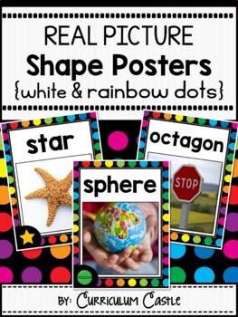 2D & 3D Shapes Posters {White & Rainbow Dot Theme}