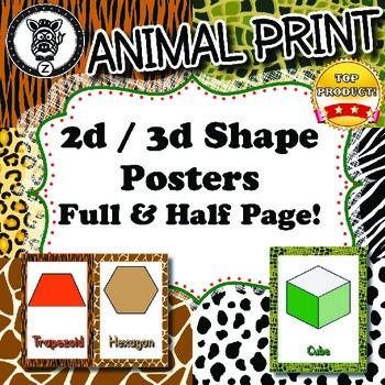 2d / 3d Shape Posters  - Animal Print - ZisforZebra - Editable!