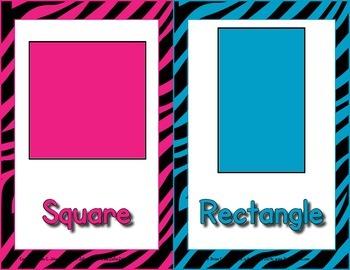 2d / 3d Shape Posters  - Neon Zebra Print