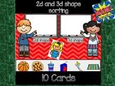 2d 3d shape sorting: Digital Task Cards  ** Boom Cards **