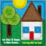 2d Shapes Felt Effect Images Clip Art for Teachers